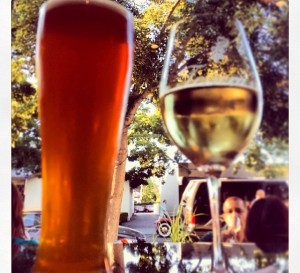 beer and wine on the patio in cmapbell